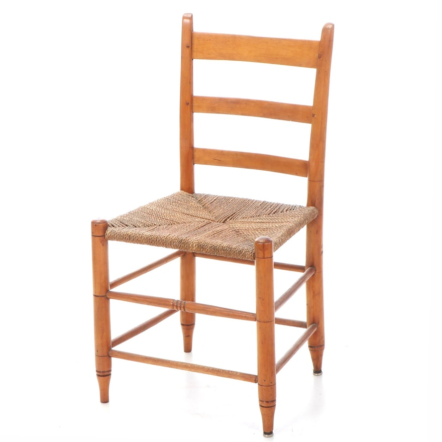 American Primitive Ladderback Side Chair, 19th Century