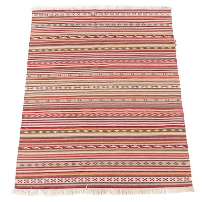 4'9 x 6'8 Handwoven Turkish Kilim Wool Area Rug