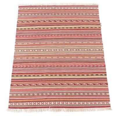 4'9 x 6'8 Handwoven Turkish Kilim Wool Area Rug
