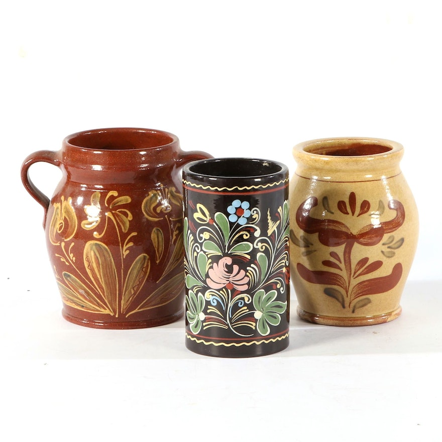 Three Slip-Decorated Pottery Vases