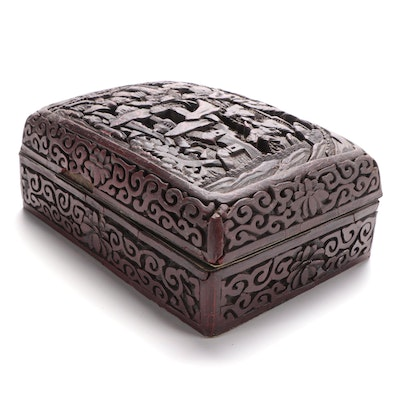 Chinese Qing Dynasty Carved Lacquered Cinnabar Box