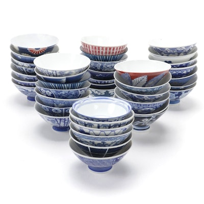 Japanese Blue, Red, and White Porcelain Rice Bowls