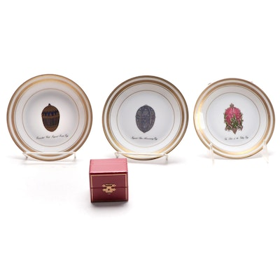 Three Fabergé Limoges Gilded Porcelain Plates and Paillonné Egg Brooch