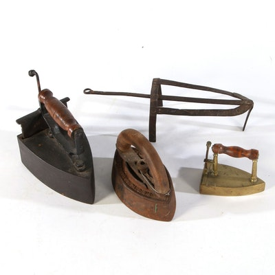 Antique Irons and Trivet