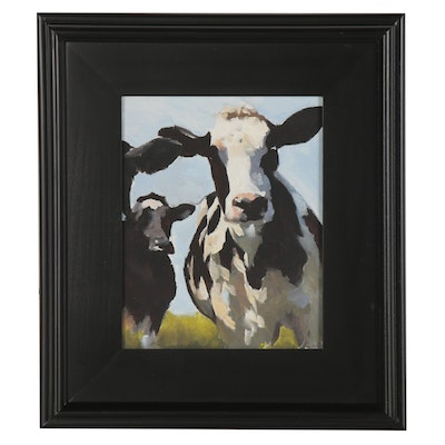 James Coates Oil Painting of Cows, 21st Century