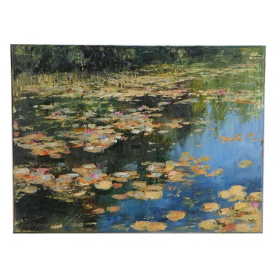 "Garncarek Aleksander Oil Painting ""Nenufary (Waterlilies),"" 2020"