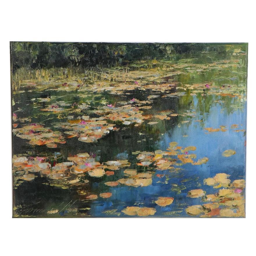 """Garncarek Aleksander Oil Painting """"Nenufary (Waterlilies),"""" 2020"""