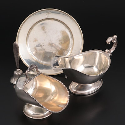 Sterling Table Bell, English Silver Plate Sugar Scuttle, Sauce Boat and Plate