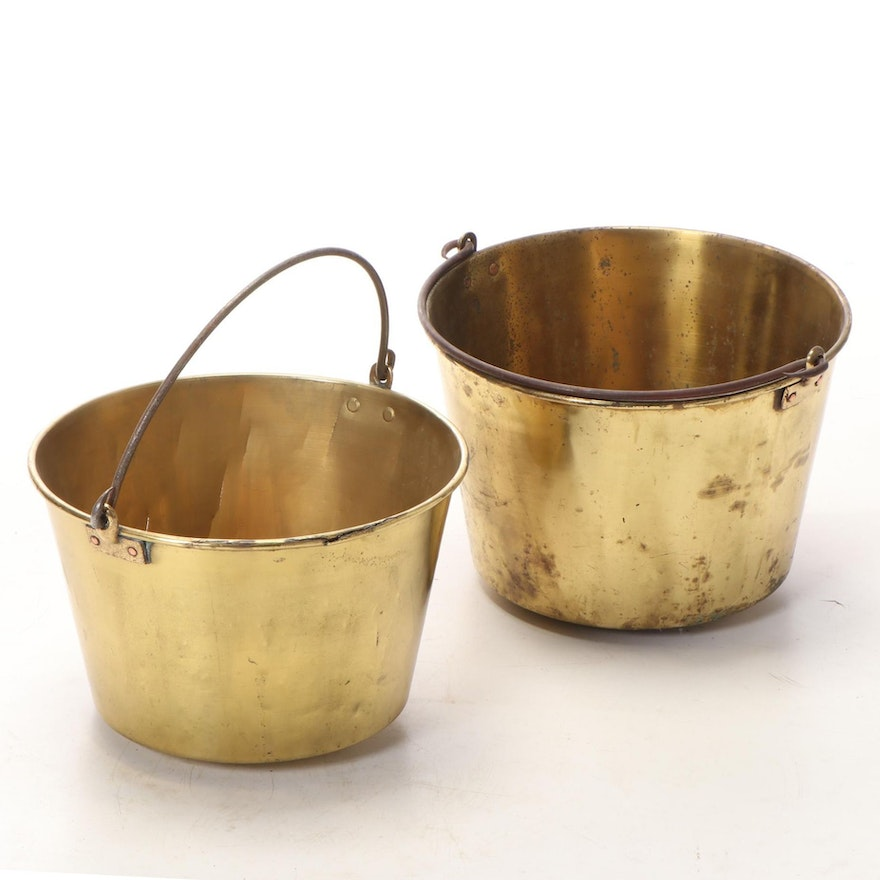 H.W. Hayden Brass and Iron Bail Handled Buckets, Late 19th Century