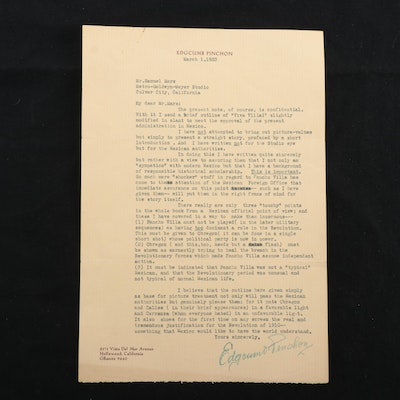 Edgcumb Pinchon Signed Typed Letter to Samuel Marx, 1933