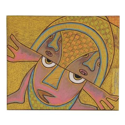 "Kayode Buraimoh Acrylic and Ink Drawing ""Responsibility,"" 2012"