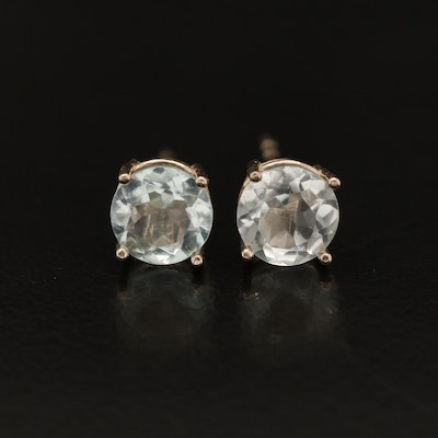 14K Round Faceted Aquamarine Stud Earrings