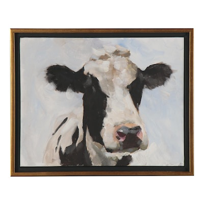 James Coates Oil Painting of Cow, 21st Century