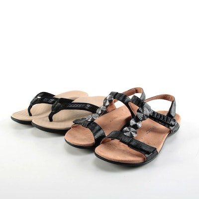 Vionic Tan Sandals and Flip Flops with Black Straps