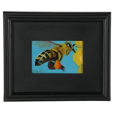 "Jeff Claudio Oil Painting ""Bee,"" 2018"