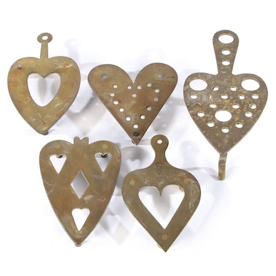 J. Bayley and Other Heart-Shaped Brass Trivets, Early to Mid 20th Century