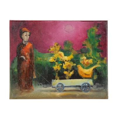 "Garncarek Aleksander Oil Painting ""Z Wózkiem (With a Stroller),"" 2019"