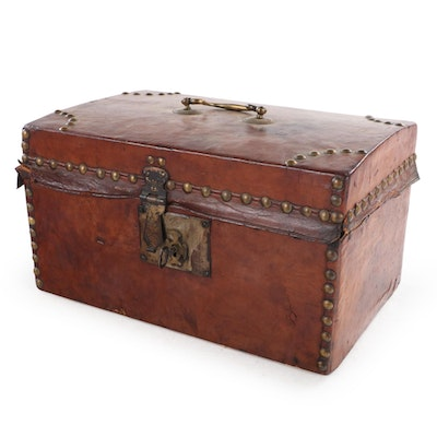 Brass-Studded Leather Document Box, 19th Century