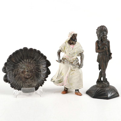 Arabian and Native American Warrior Figurines with Cast Metal Dish