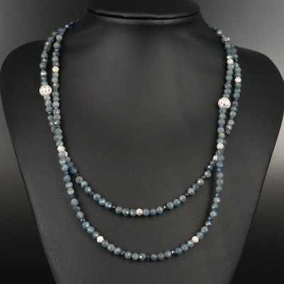 Double Strand Corundum Necklace with Sterling Clasp and Beads