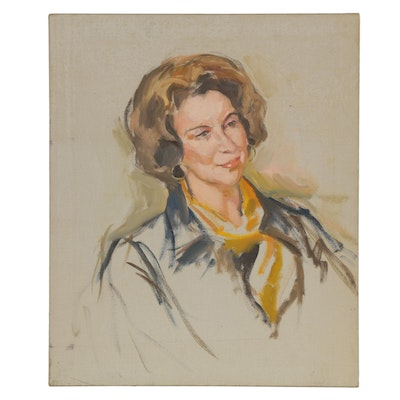 Oil Painting of Woman in Suit, Late 20th Century