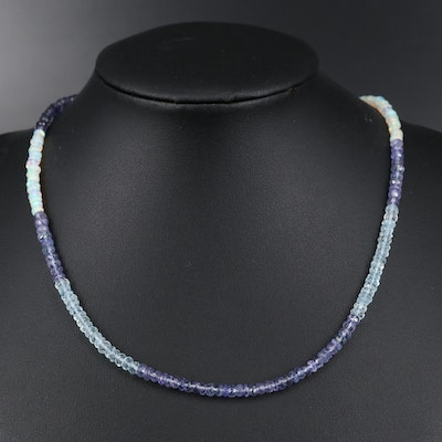 Sterling Silver Tanzanite, Opal and Aquamarine Beaded Necklace