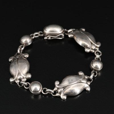 """Vintage Sterling Silver Georg Jensen & Wendel """"Moonlight Blossom"""" Bracelet"""
