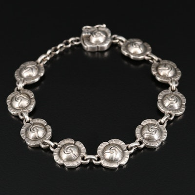 Vintage Sterling Silver Georg Jenson Rosebud Bracelet