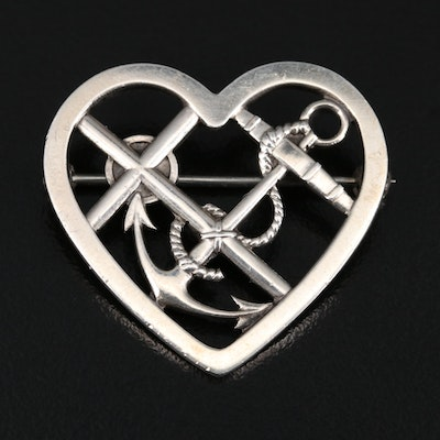 "Vintage Georg Jensen Sterling Silver ""Faith, Hope and Love"" Brooch"