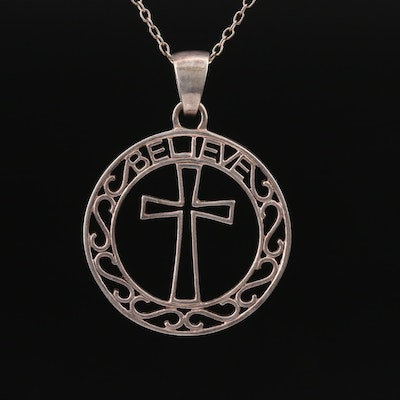 "Sterling Silver ""Believe"" Cross Necklace"