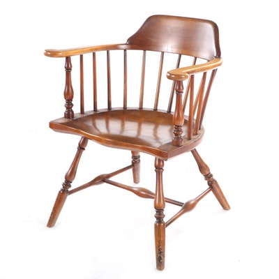 Barnard & Simonds Co. Cherrywood Windsor Armchair, Mid-20th Century