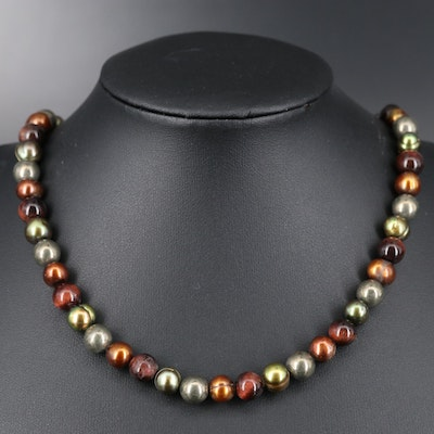 Sterling Silver Pearl, Tiger's-Eye Quartz and Pyrite Beaded Necklace
