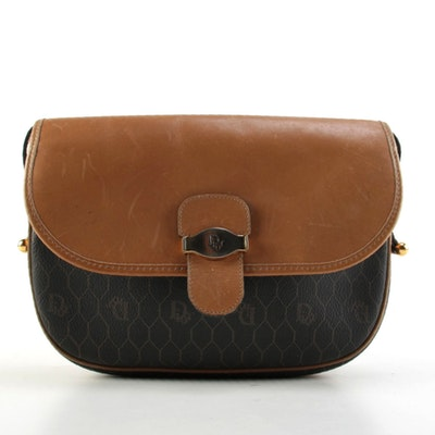 Christian Dior Honeycomb Coated Canvas and Leather Shoulder Bag