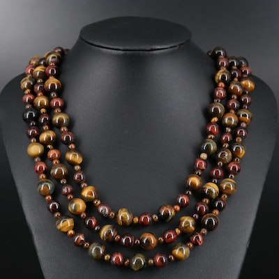 Sterling Silver Tiger's Eye Quartz and Tiger Iron Triple Beaded Necklace