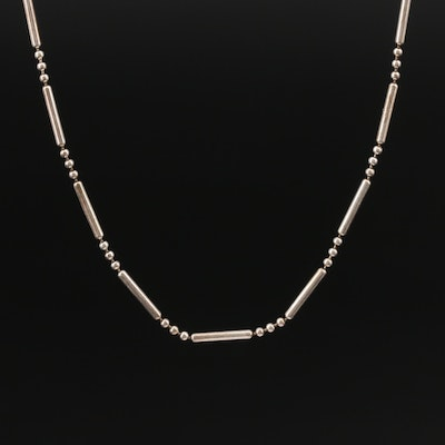 Sterling Silver Beaded and Bar Necklace