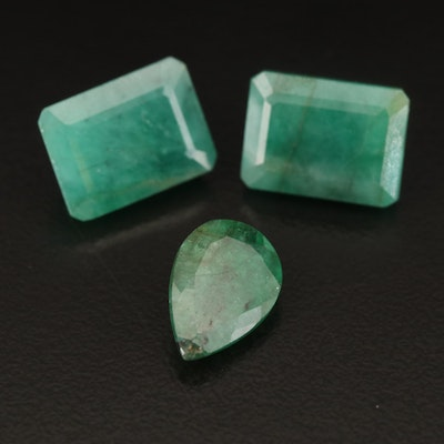Loose 14.60 CTW Rectangular and Pear Shaped Emeralds