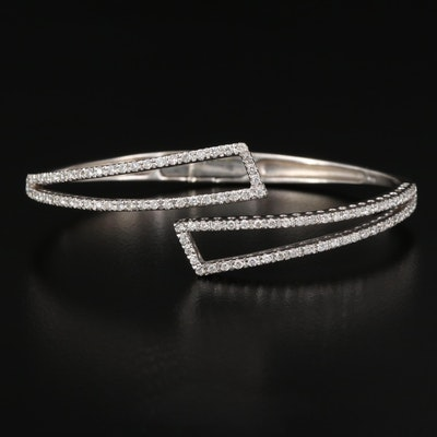 18K Diamond Hinged Bypass Bangle