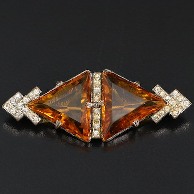 Vintage Glass and Rhinestone Brooch