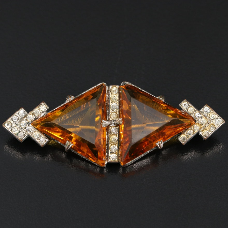 Vintage Glass and Rhinestone Brooch