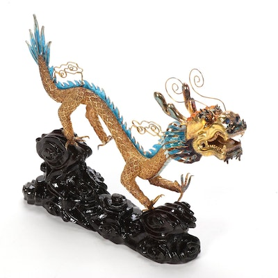 Chinese Paillonné Enamel and Filigree Dragon Sculpture