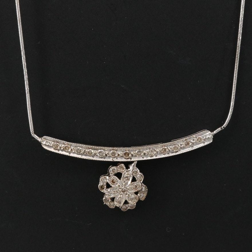 18K Diamond Stationary Pendant Necklace