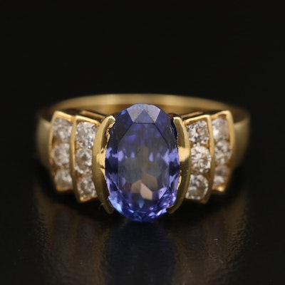 18K Tanzanite and Diamond Bow Ring