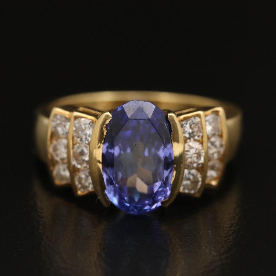 18K Tanzanite and Diamond Bow Ring