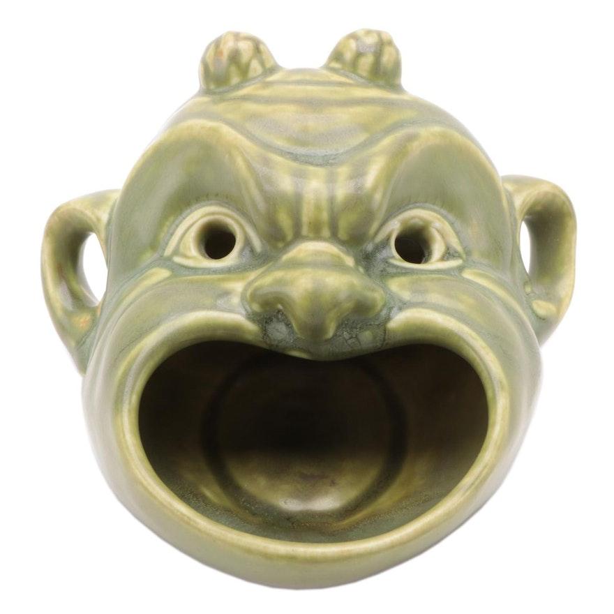"Rookwood Pottery ""Devil Mask"" Jade Green Glaze Ceramic Ashtray, 1939"