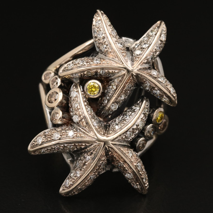 18K 1.10 CTW Diamond Starfish Ring