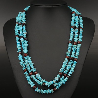 Sterling Silver Turquoise and Tiger's Eye Triple Strand Necklace