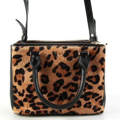 Lauren Ralph Lauren Leopard Print Calf Hair and Black Leather Two-Way Bag