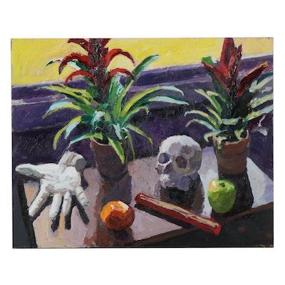 "Stephen Hankin Acrylic Painting ""Plaster Skull, Hand, and Plants,"" 2017"