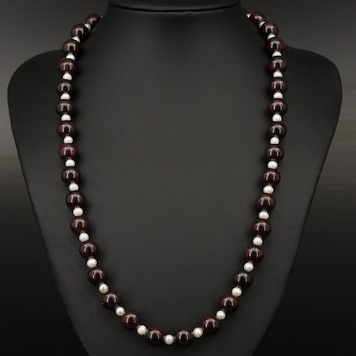 Pearl and Beaded Garnet Necklace with Sterling Clasp