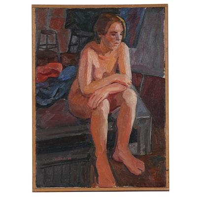 """Stephen Hankin Oil Painting """"Model Resting,"""" 1985"""